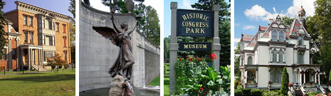 Historic Districts Banner Collage Homes Statues and Signs