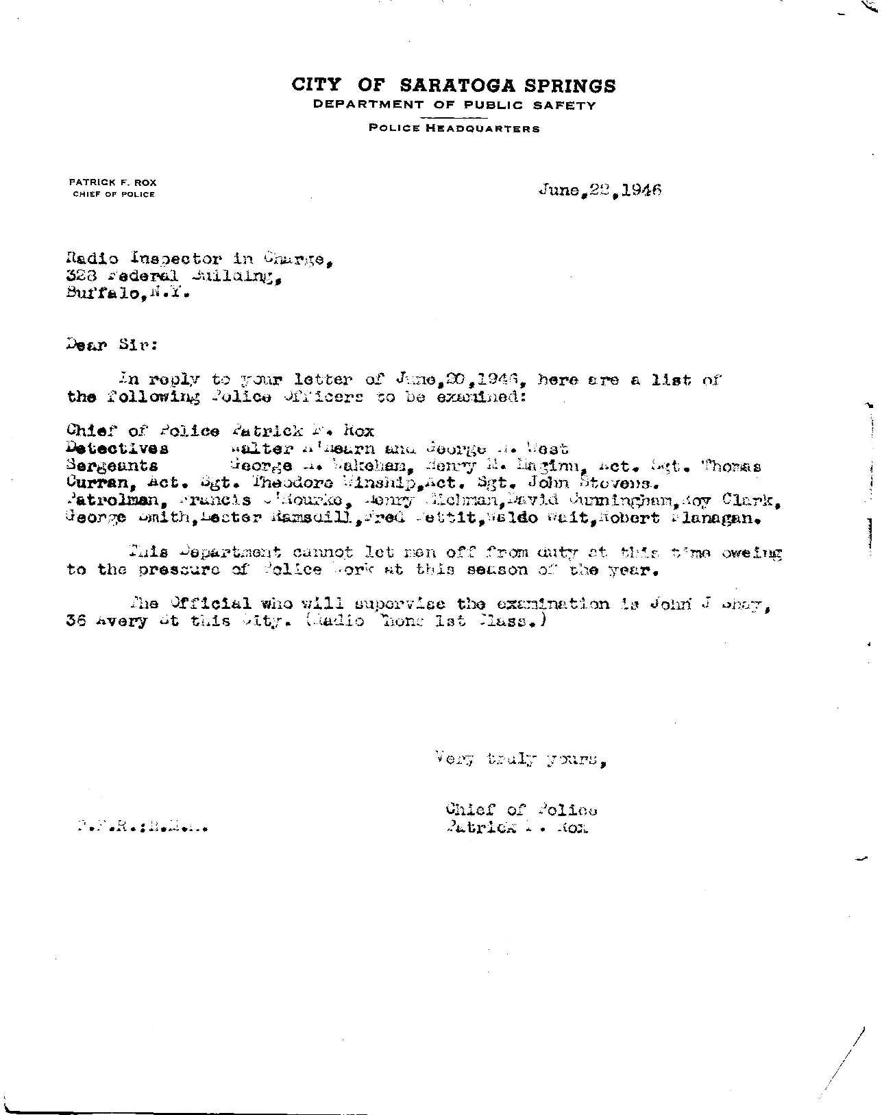 1946 letter from then police chief Patrick Rox