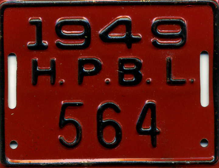 1949 bicycle registration tag