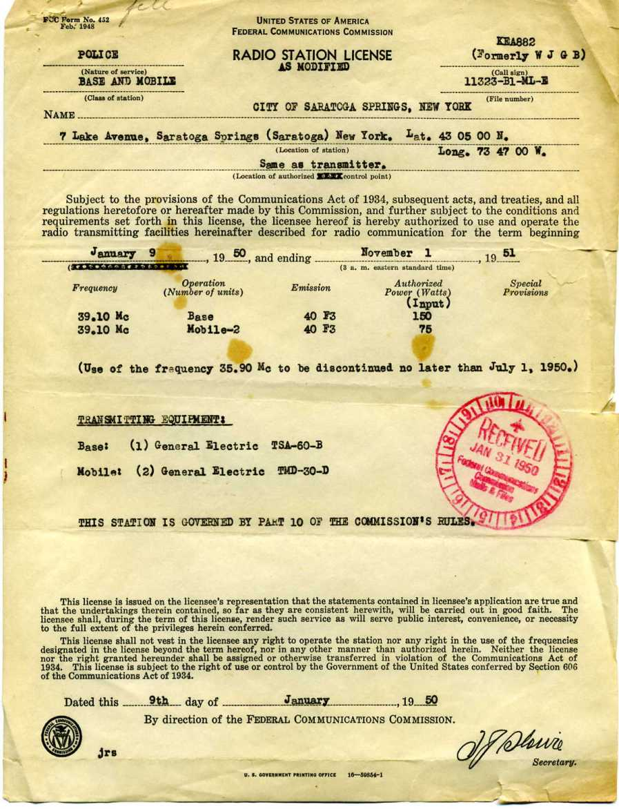 Police department radio license for 1950